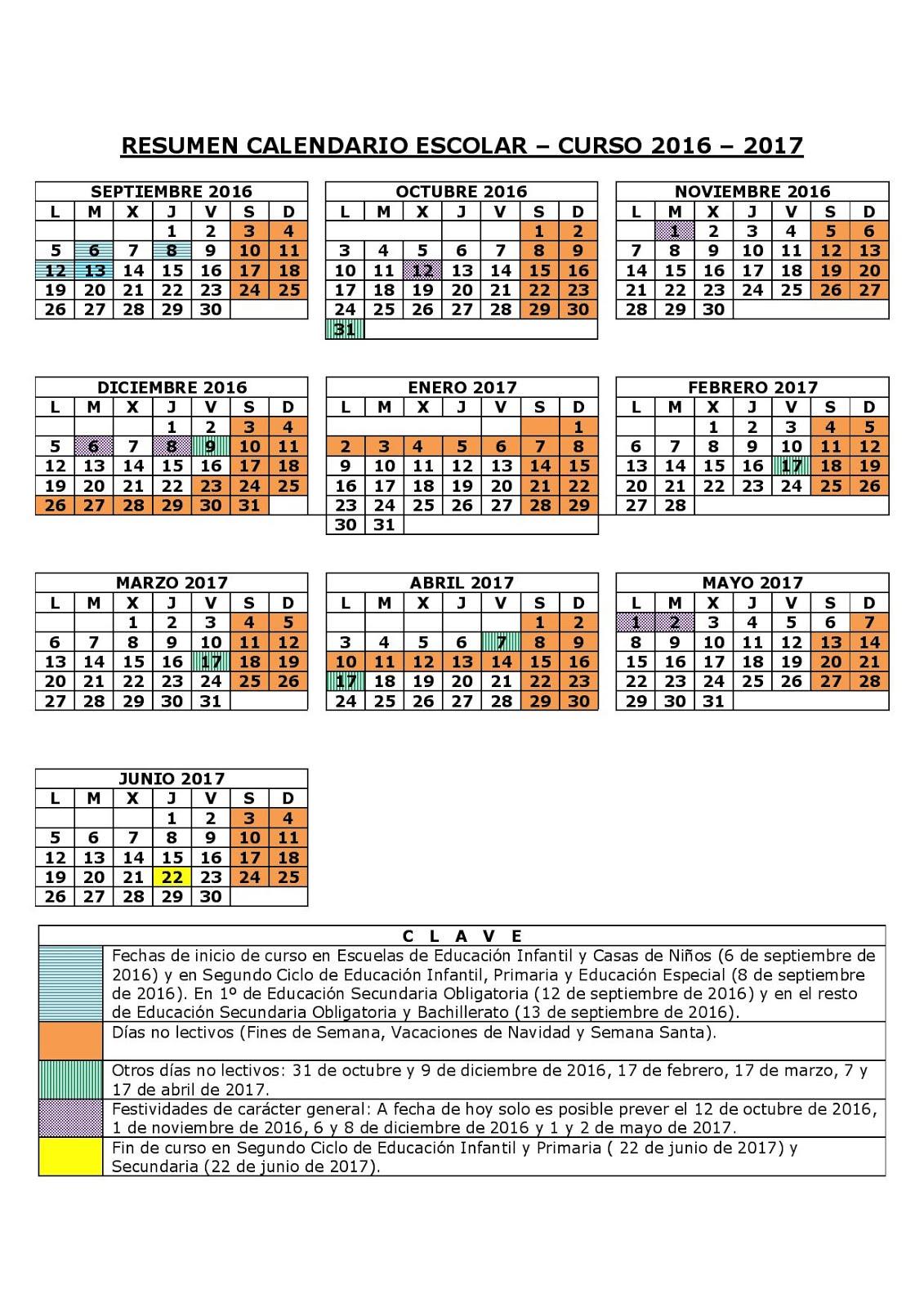 Calendario escolar curso 16/17