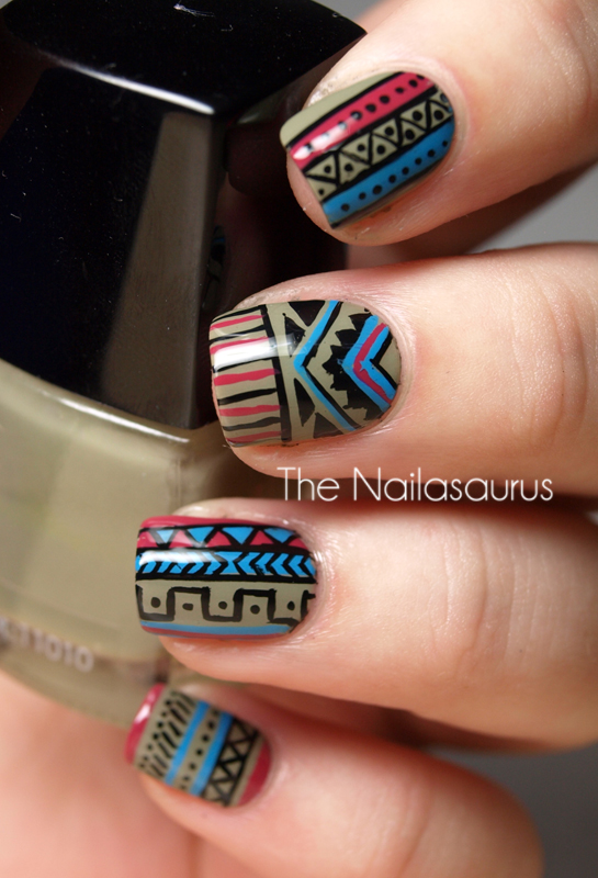 Day 16 tribal print the nailasaurus uk nail art blog base colour mua shade 23 black acrylic paint barry m cyan blue barry m limited edition red for buzz top coat of nyc prinsesfo Image collections