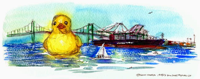 "Shiho Nakaza ""San Pedro"" ""rubber duck"" ""Los Angeles"" ""Tall Ships Festival"" sketching watercolor ocean"