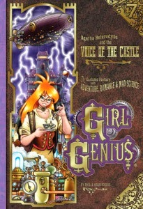 cover art for The Voice of the Castle, featuring Agatha hunched over an elaborate coffee maker with manic glee in her eyes while an airship and a lightning storm hover in the background