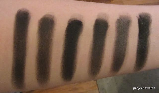 matte black eyeshadow swatches - UD Blackout; Sleek Original; WnW Greed; WnW Panther; Sugarpill Bulletproof; MUG Corrupt