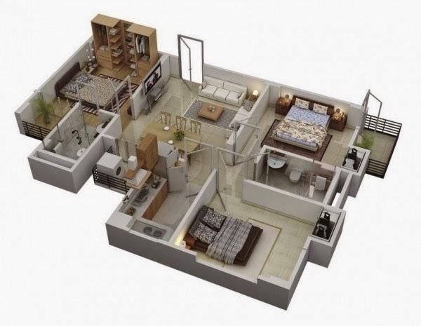 ديكور: تصاميم شقة بثلاثة غرف