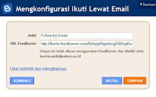 Ikuti lewat Email - Widget Baru Blogger