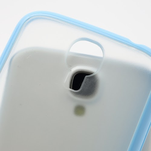 Hybrid Case : TPU Edges and Transparant Back Case Samsung Galaxy S 4 IV i9500 i9505 - Baby Blue