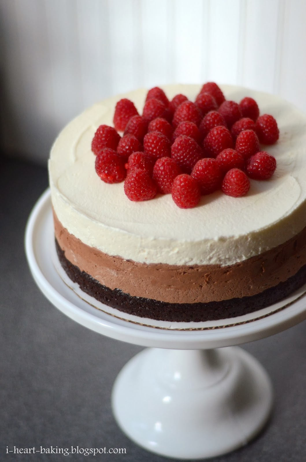 heart baking!: two triple chocolate mousse cakes with raspberries