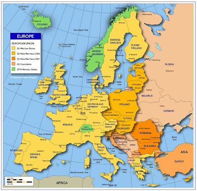 Karte von Europa Region