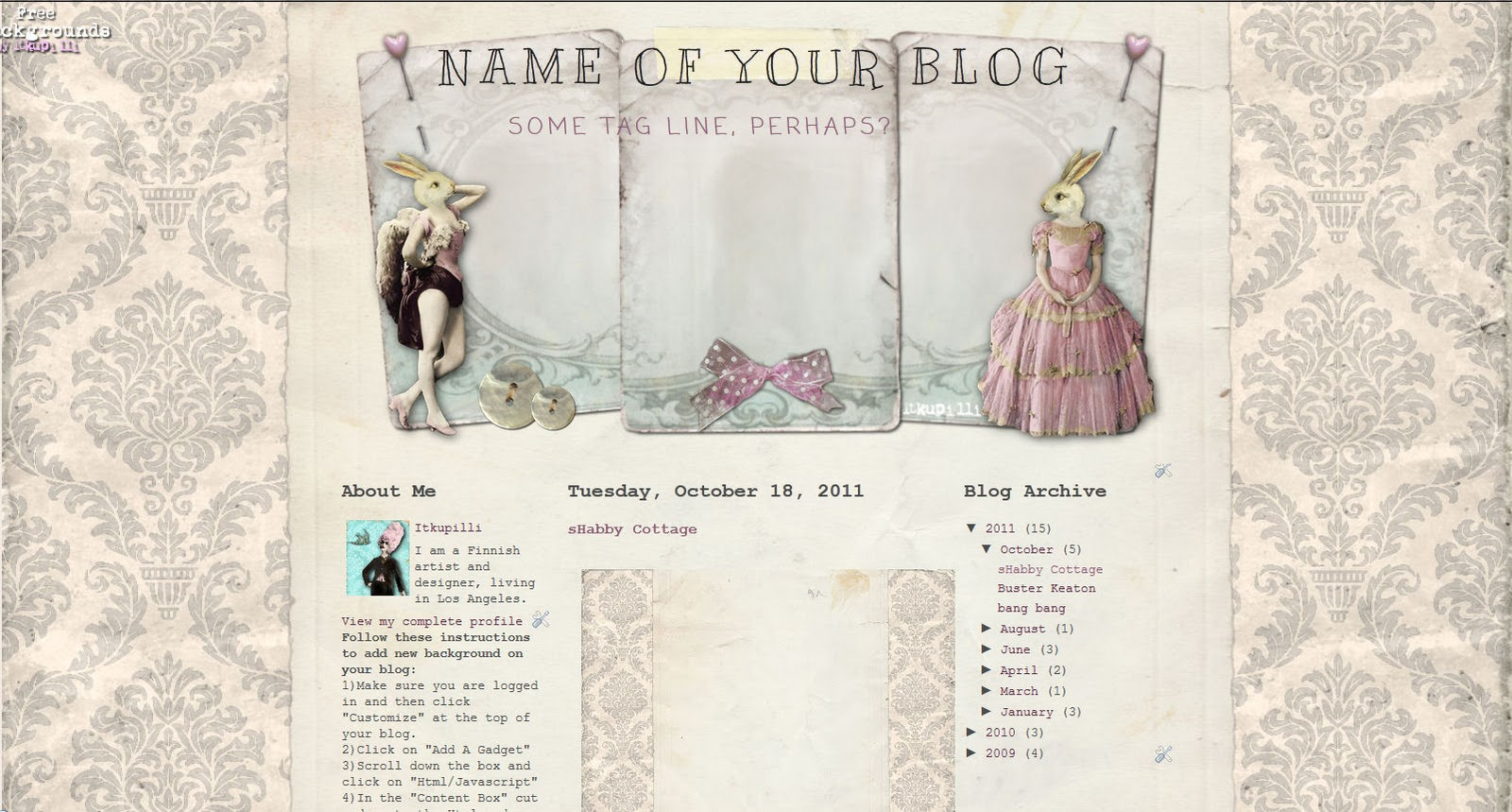 Cute \'n\' Cool* Backgrounds: My ShaBby cOttage II for 3 Column bLog