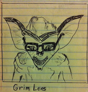A gremlin is wearing thick lenses