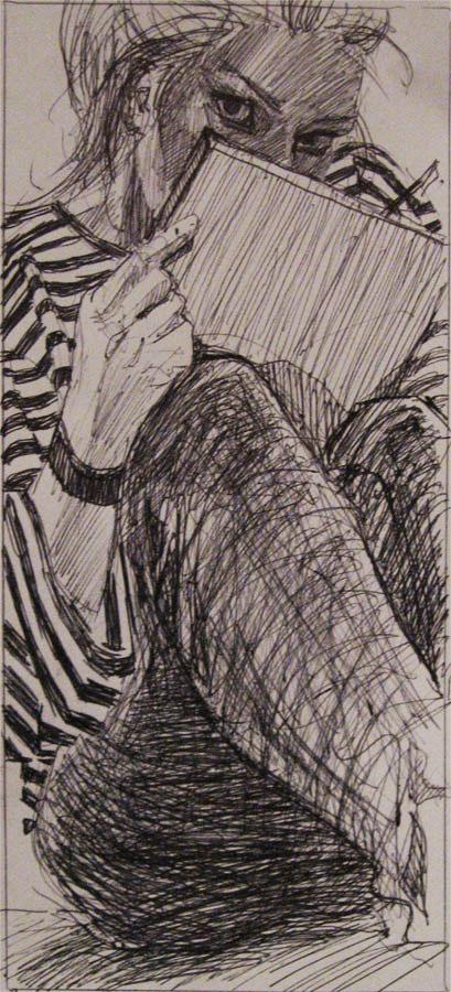 portret ekspresyjny Urbaiak zamaszysty expresive pen ink