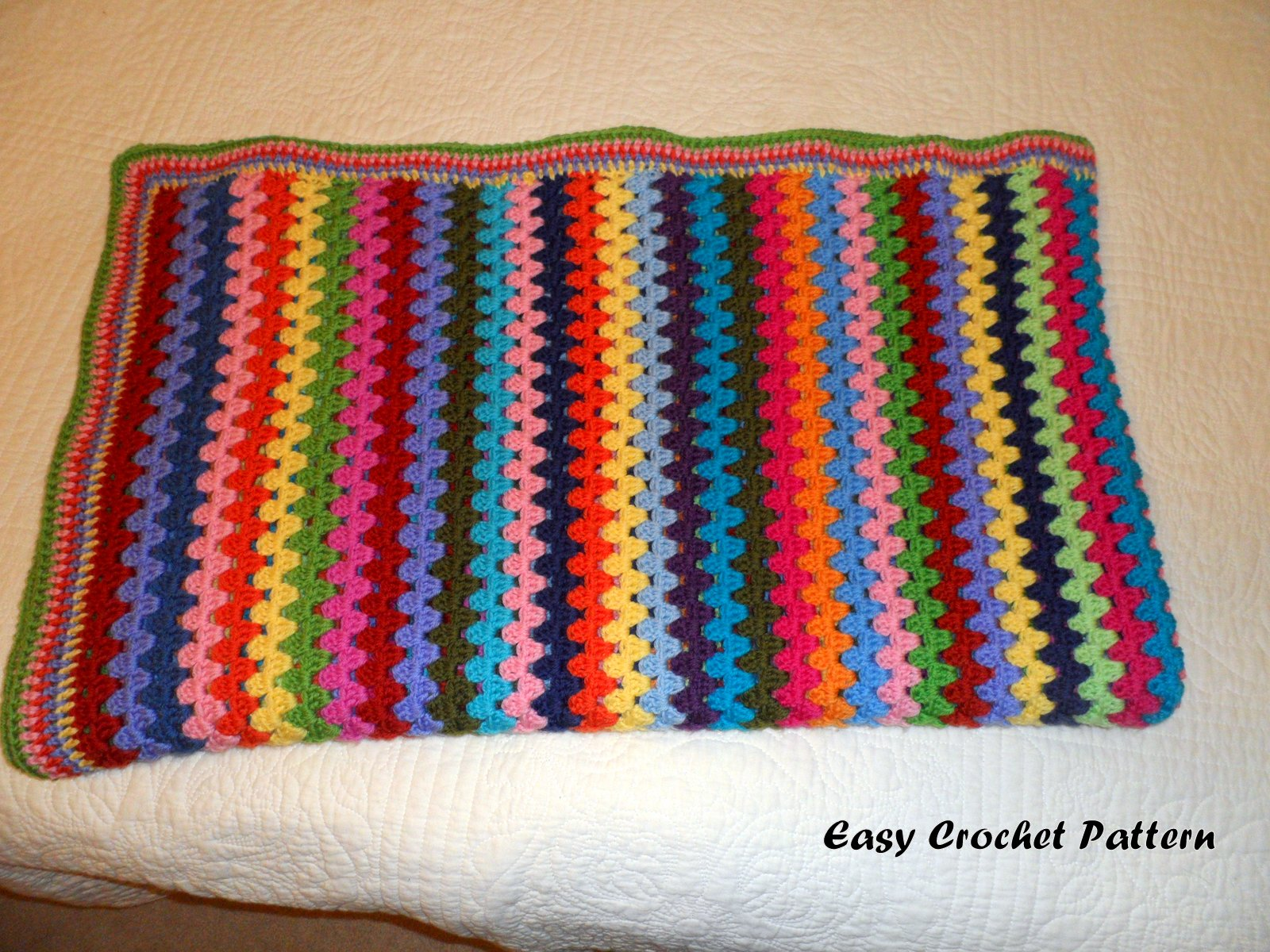 Crochet Afghan Patterns Stripes : Easy Crochet Pattern: Granny Stripe Afghan Finish