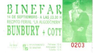 entrada concierto binefar bunbury y coty