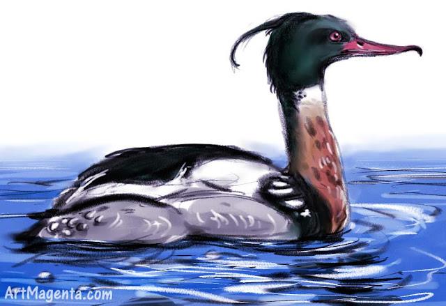 En  fågelmålning av en småskrake från Artmagentas svenska galleri om fåglar.