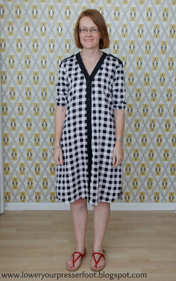 Burda 12/2015 #121 gingham shirt dress www.loweryourpresserfoot.blogspot.com
