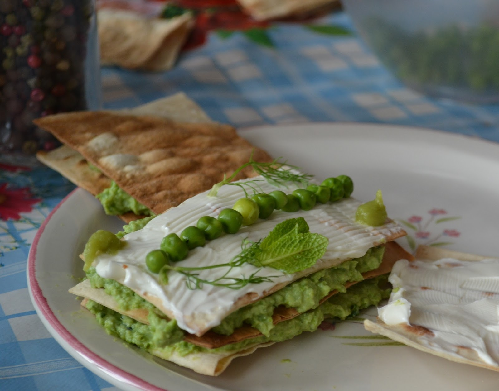 Millefeuille of ricotta, peas and mint