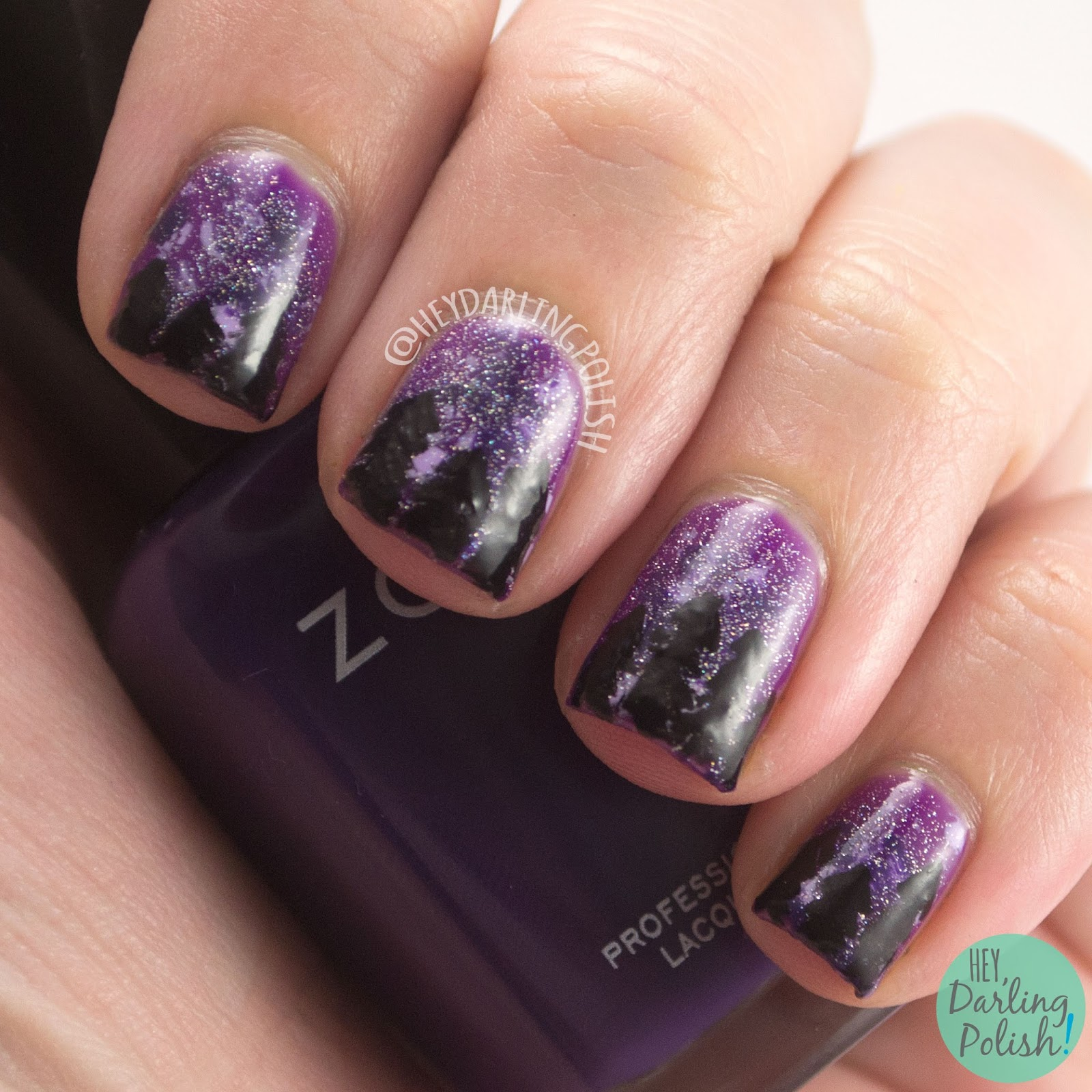 purple, trees, spellbound, spooky, glitter, nails, nail art, nail polish, indie polish, indie, liquid kandi, october sweet treat box, halloween,