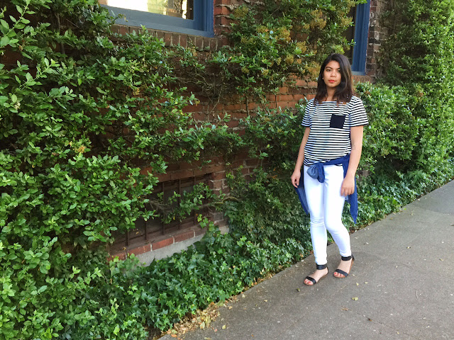 black and white stripe shirt, white jeans, black scrappy sandals, ootd, affordable fashion, portland style blogger, the p town girls, basics, everyday wear