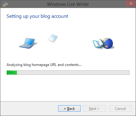Live Writer is Setting up Blog