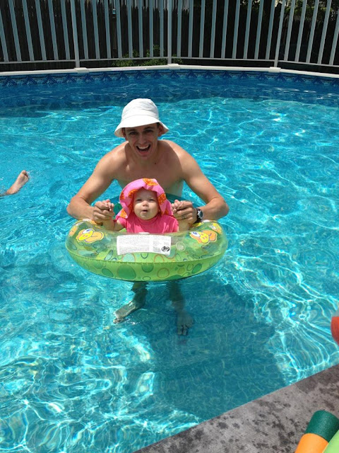 daddy and baby swim