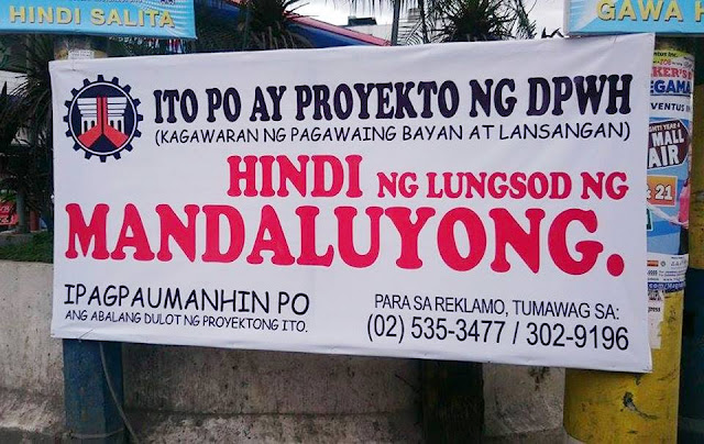Mandaluyong City gov't post signs blaming DPWH for slow-paced project