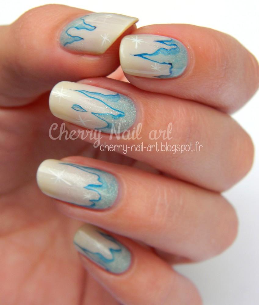 nail art hiver stalactite glace aquarelle