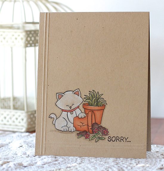 Sorry Card by Guest Designer Angel Rivera | Naughty Newton Stamp set by Newton's Nook Designs