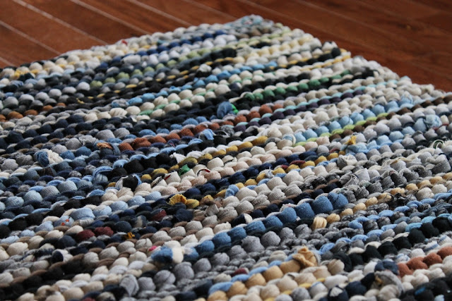 tshirt rag rug utility cottage rustic country blue cream brown yellow black gray green by Handiworkin' Girls