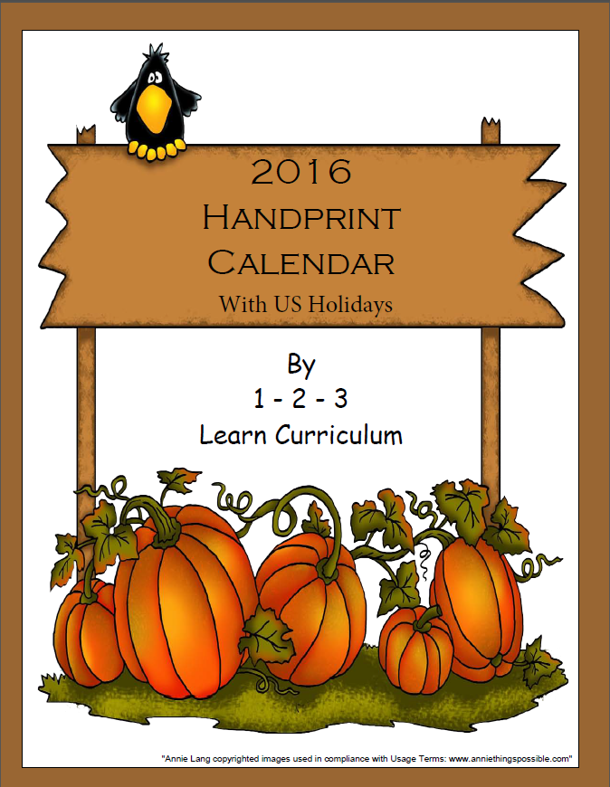 1 2 3 Learn Curriculum 2016 Handprint Calendar Template With