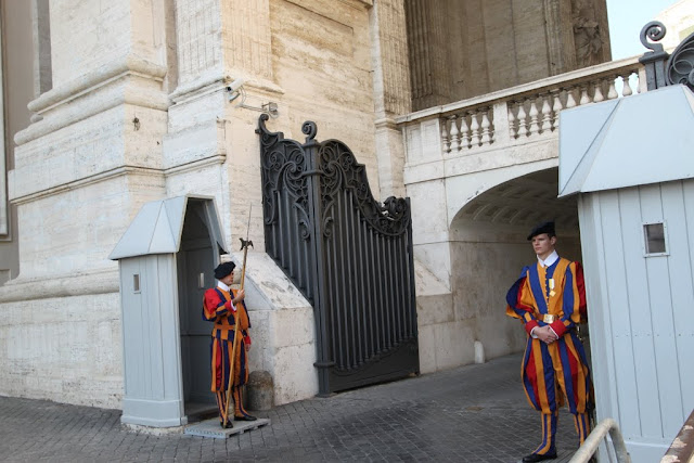 The famous Swiss Guards in the Vatican City, Rome, Italy
