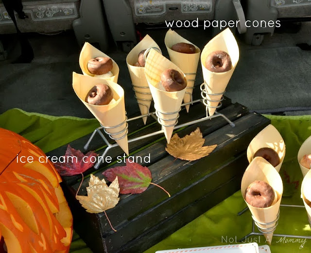 pumpkin patch tailgating party wood paper cones