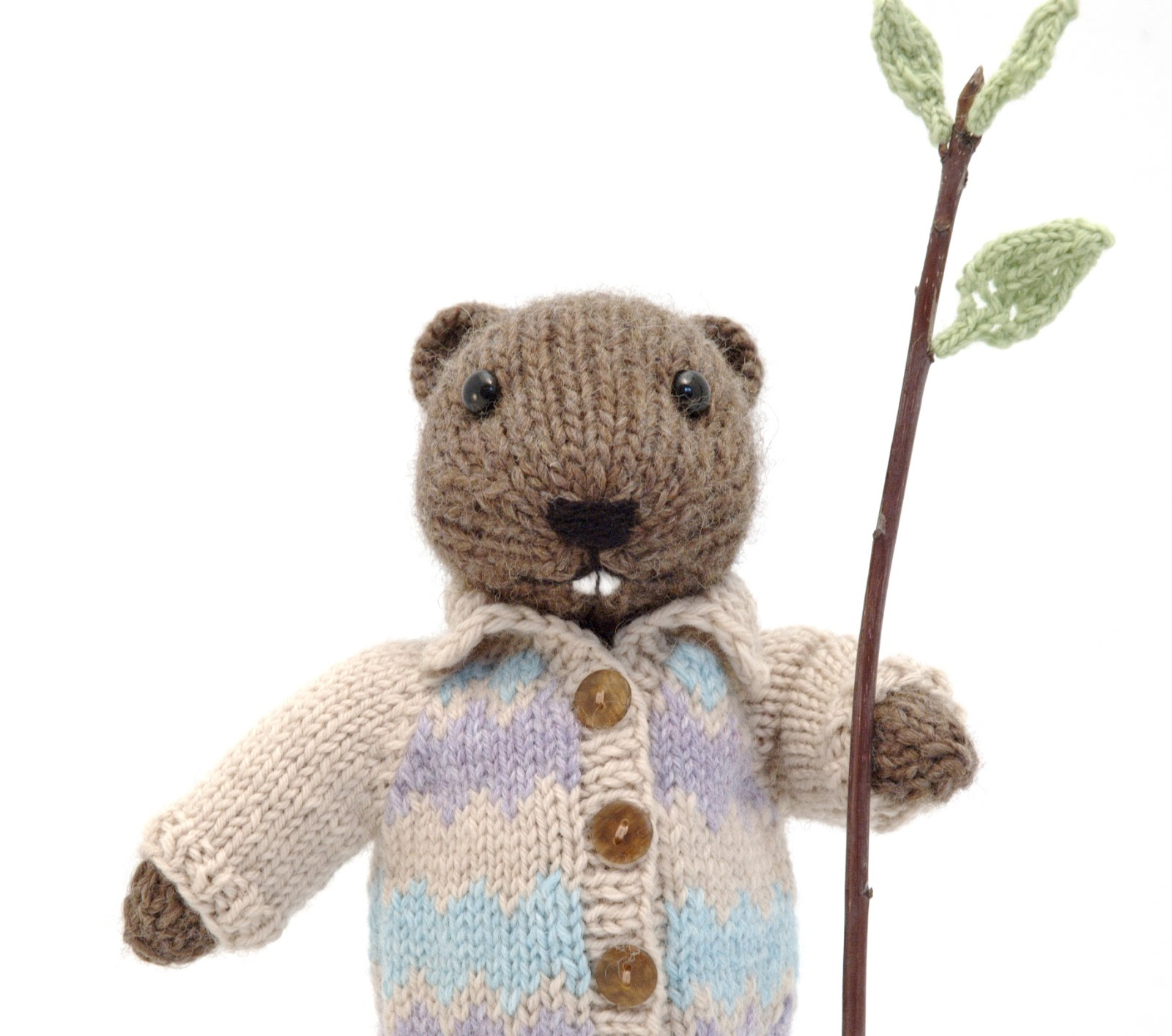 """Knitting Pattern For  Toy Animal Beaver 16/"""" in length Excluding Tail"""