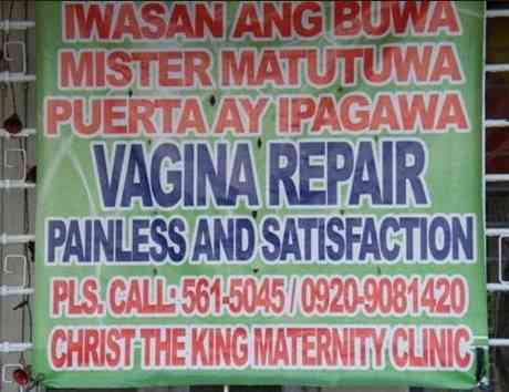 pagawaan ng puerta vaginal repair sign in the philippines