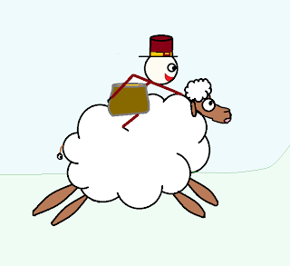 Tiny leprechaun riding on the back of a sheep, holding a golden pot.