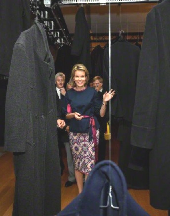 Queen Mathilde Visited The 'La Salle De Pendus' Exhibition In Hornu