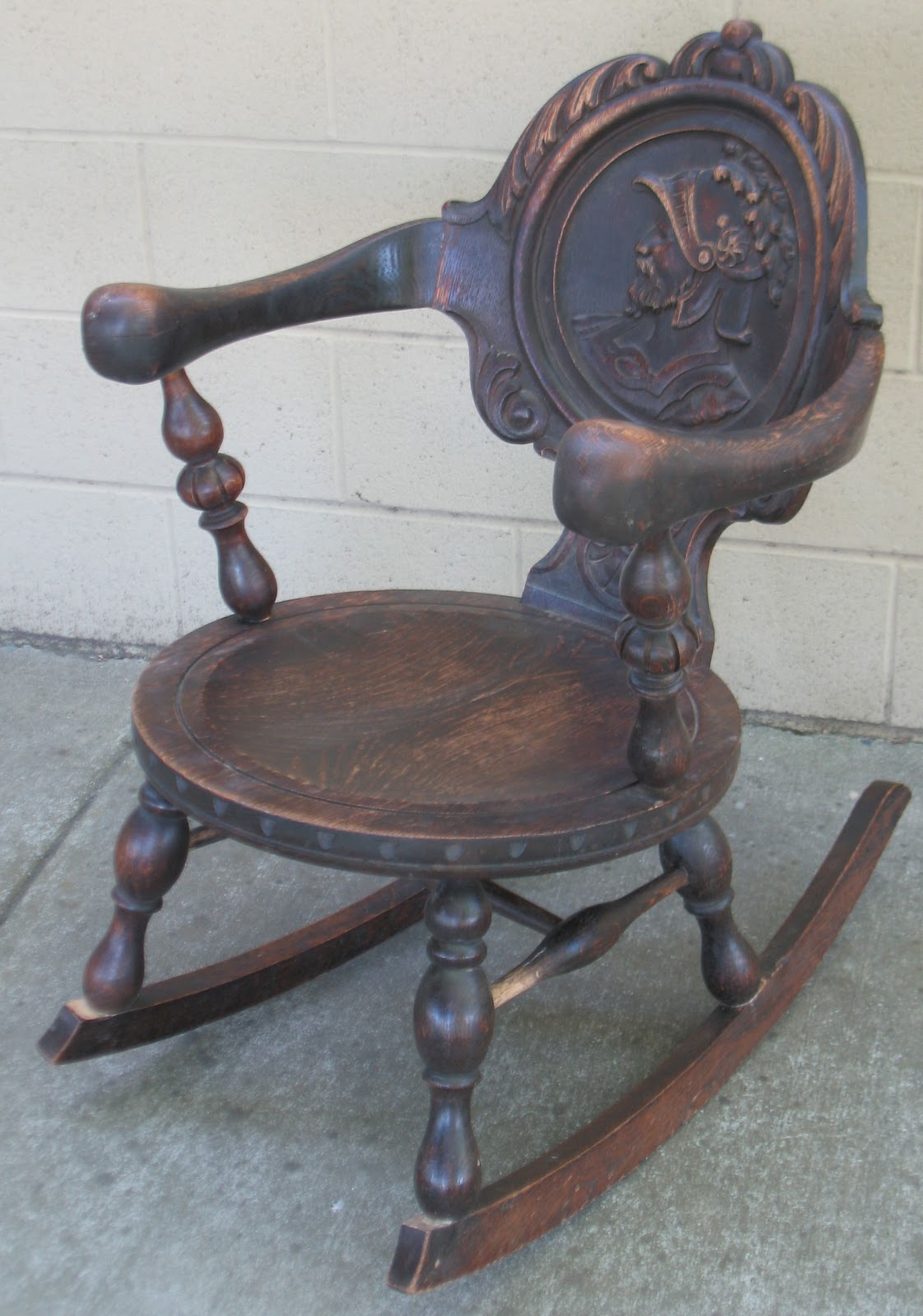 Rocking Chair with Carved Back Panel - The Craftsman: Rocking Chair With Carved Back Panel