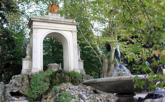 The garden with a fountain at Villa Borghese in Rome, Italy