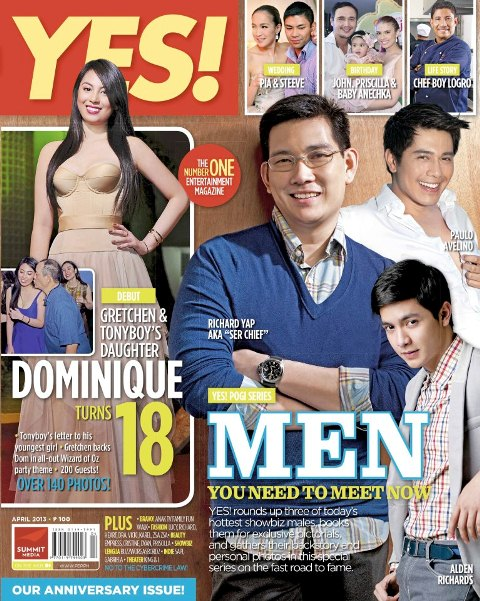 Richard Yap, Paulo Avelino and Alden Richards Cover YES Magazine April 2013 (Pogi Series)