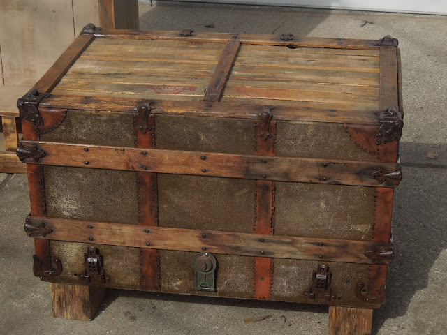 Tattered lantern old trunk coffee table sold for Old chest coffee table