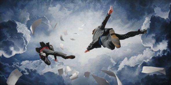Joel Rea pintura hiper-realista surreal cães gigantes caindo céu Ambição direta