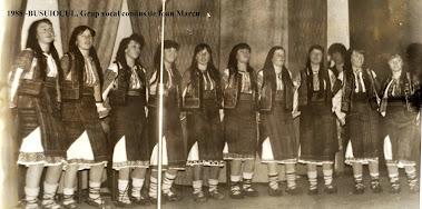 """Ansamblul folcloric """"Busuiocul"""" (parțial) , cond. Ion Marcu - 1988, al liceului din Subcetate"""