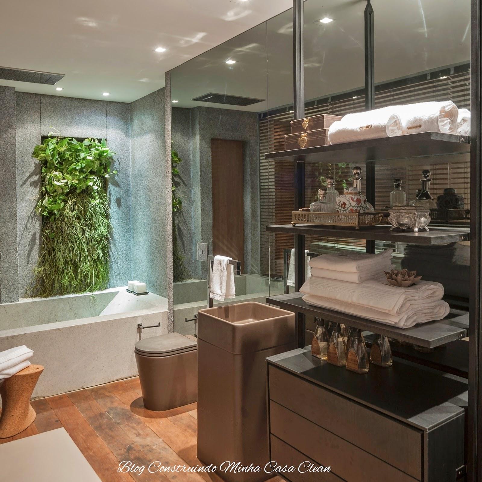Banheiro com jardim de inverno vertical! #915B3A 1600x1600 Banheiro Com Jardim Vertical