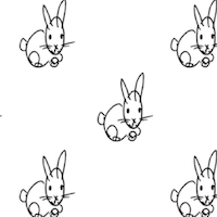 black white bunny pattern