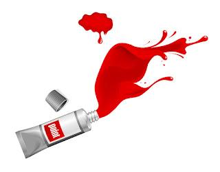 赤い絵の具チューブ Red ink paint splash イラスト素材