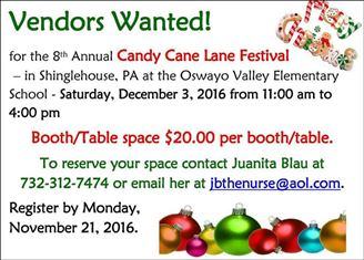 12-3 Vendors Wanted For Candy Cane Lane