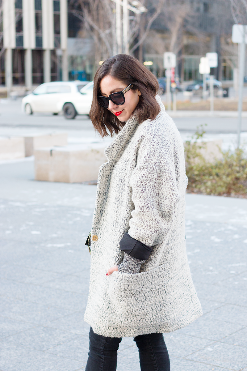 Grey oversized Apiece Apart coat for fall