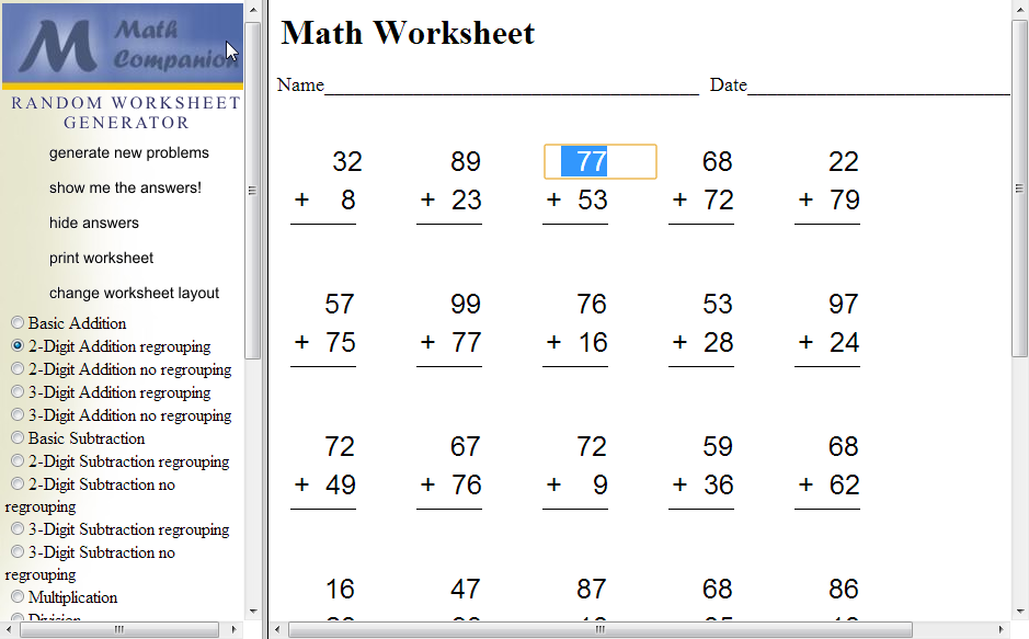 Homestead Catholic: Math Worksheet Generator