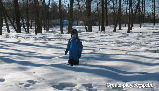 следы на весеннем снегу