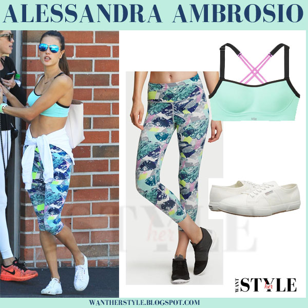 Alessandra Ambrosio in mint sports bra and printed cropped leggings victorias secret sport what she wore