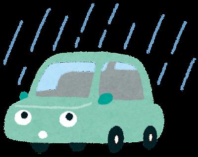 雨の日の運転のイラスト