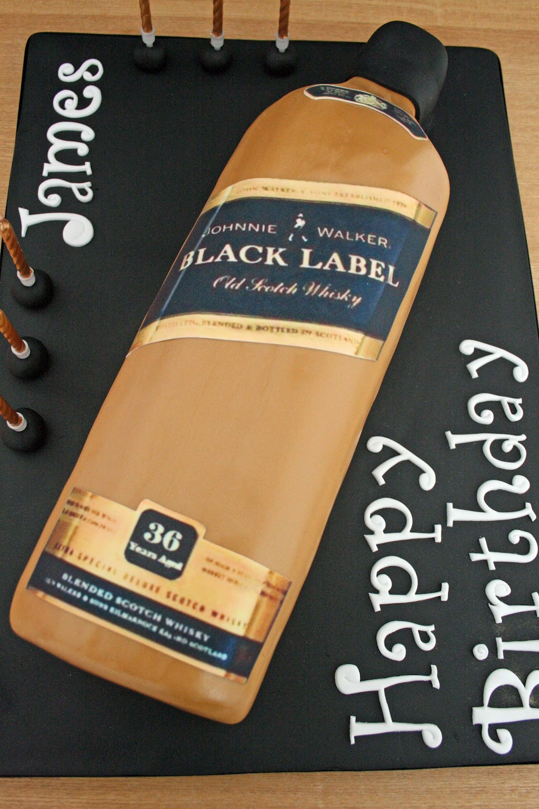lauralovescakes Johnnie Walker Whiskey Bottle Cake