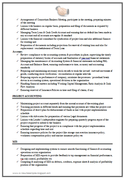 free download link for excellent work experience chartered accountant resume sample doc